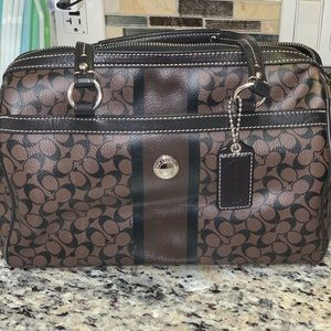 Dark brown leather Coach pursue
